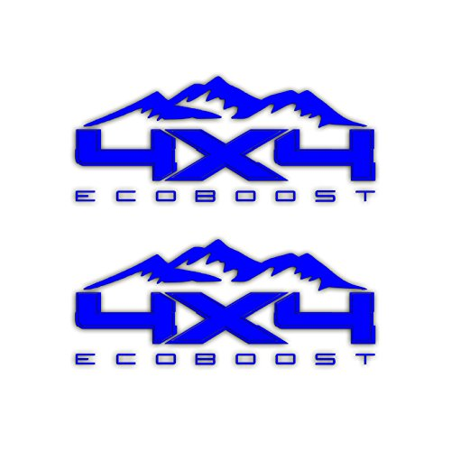 4X4 Ecoboost Mountain Bedside Vinyl Decal For Ford Trucks Blue