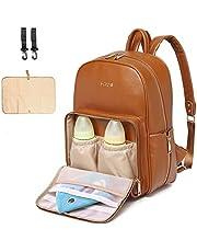 Skötväska i läderblöjväska, skötväska, skötväska, skötväska, blöjbyte babyväskor för mamma unisex mammablöjväska med barnvagnshängare | termiska fickor|justerbara axelremmar|vattentät|Brun
