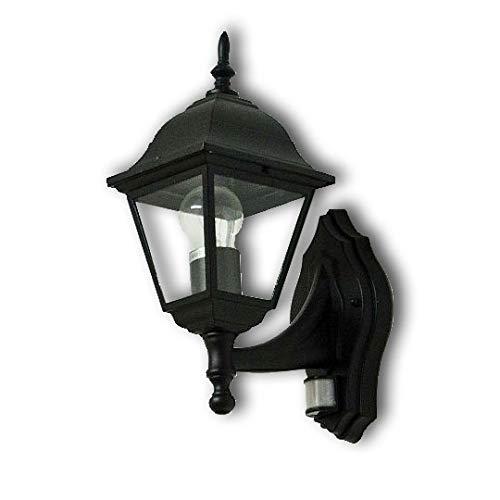 Rustikale GartenlaterneTirol in schwarz mit Bewegungsmelder / E27 bis 60W 230V / Sensor verstellbar/Sensor Außenleuchte Wandlampe Hof Garten Beleuchtung Licht-Erlebnisse CX220201-PIR