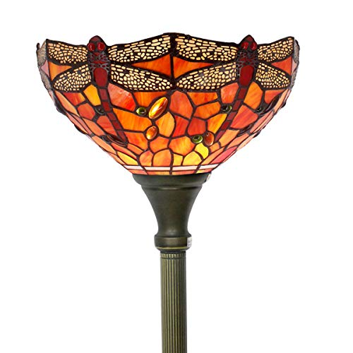 Tiffany Style Torchiere Light Floor Standing Lamp Wide 12 Tall 66 Inch Red Stained Glass Crystal Bead Dragonfly Lampshade for Living Room Bedroom Antique Table Set S036WERFACTORY (Fly Lamp Dragon)