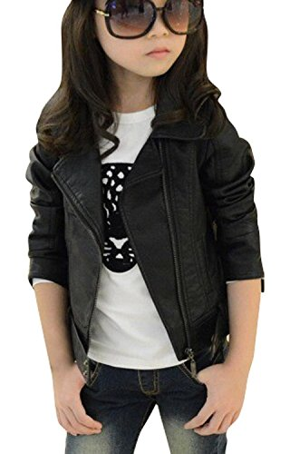 Girl Motorcycle Jackets (Baby Girl's Motorcycle Jackets Spring Autumn PU Leather Coat (11-12T,)