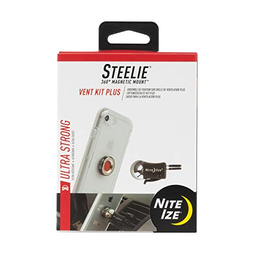 Nite Ize Steelie Vent Mount Kit Plus - Magnetic Car Vent Mount for Smartphones with 2x Holding Power and Restickable Magnet Adapter