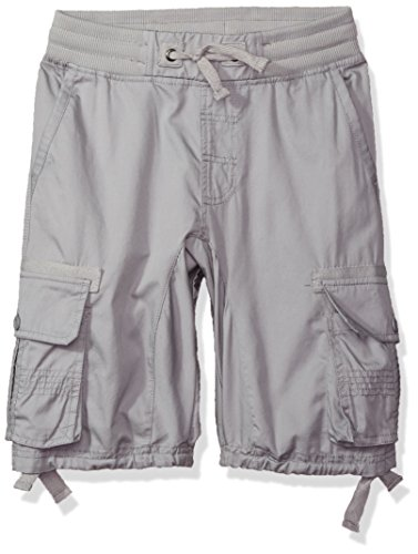 Southpole Big Boys' Jogger Shorts with Cargo Pockets in Basic Solid Colors, Light Grey, Large