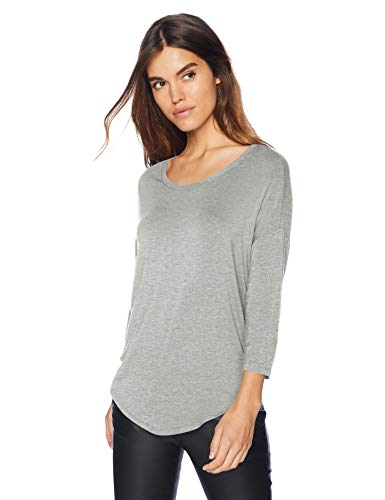 Amazon Brand - Daily Ritual Women's Jersey Rib-Trim Drop-Shoulder Scoop-Neck Shirt, Light Heather Grey, -