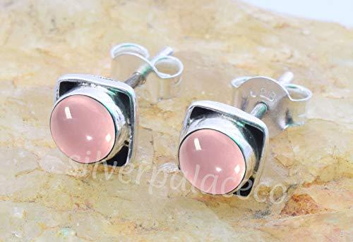 925 Sterling Silver Pink Rose Quartz Stud Earrings- Girl Women Rose Quartz Stone Gemstone Stud Post Earrings Jewellery