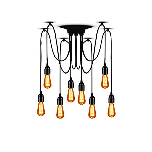 Medium Pendant Lighting Outdoor (T&A 8 Arms Spider Lamps Vintage Edison Style Adjustable DIY Ceiling Spider Pendant Lighting Rustic Chandelier(Each with 78.74