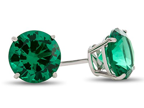 Finejewelers 14k White Gold 7mm Round Simulated Emerald Post-With-Friction-Back Stud Earrings 7mm May Birthstone Earrings