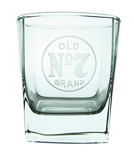 Jack Daniel's Signature On The Rocks Glass - Rocks Glass - Clear, Squared Base Glass with Official Old No. 7 Logo (10 - Glass Traditional Vb