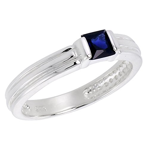 Sterling Silver Blue Sapphire Cubic Zirconia Stack Ring Princess Cut 0.40 ct, size 8 (8 Princess Stack)