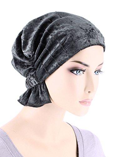 Abbey Cap Womens Chemo Hat Beanie Scarf Turban Headwear for Cancer Stretch Velour Sequin Pearl Gray -