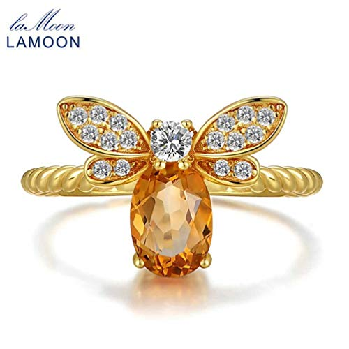 Businesscastle LAMOON Honey Bee Resizable Oval Citrine Ring 100% S925 Silver Animal Shape