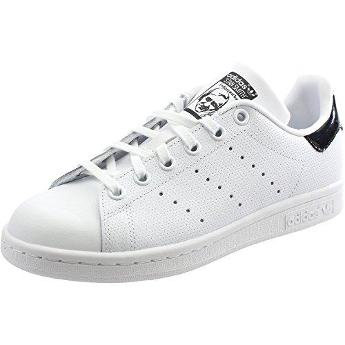 Price comparison product image adidas Originals Stan Smith J White/Black Holographic Leather 3.5 M US Big Kid