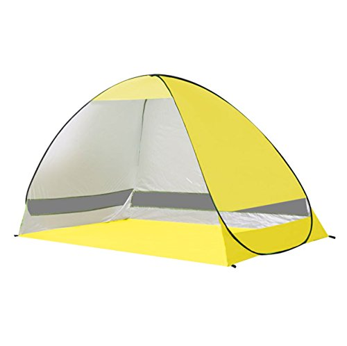 Rhorawill Automatic Pop Up Beach Tent: 2-3 Persons, Easy Set Up, Durable Stable Shade Shelter With Sun UV Protection For Privacy At The Seaside, Park, Yard, Lightweight And Easy To Fold Canopy, Yellow For Sale