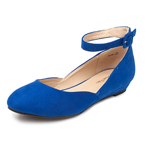 DREAM PAIRS Women's Revona Royal Blue Low Wedge Ankle Strap Flats Shoes - 10 B(M) US