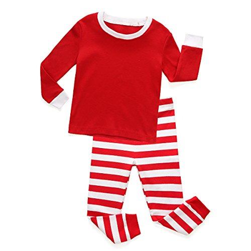 TinaLuLing Kids Red&White Striped Pajama Christmas Pajamas sets Child Sleepwear -