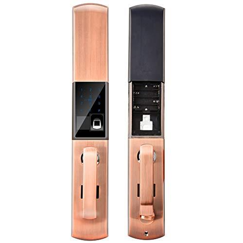Smart Door Lock, Electronic Biometric Fingerprint Touch Password Keyless Door Lock, Fingerprint/Password/Card/APP Four Unlocking Methods, for Bedroom Apartment Office