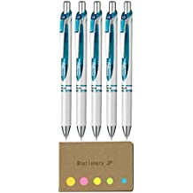 Pentel Energel Retractable Ballpoint Pen, Extra Fine Point 0.5mm Needle Tip, Black Ink, Pearl White&Turquoise Body, 5-pack, Sticky Notes Value Set
