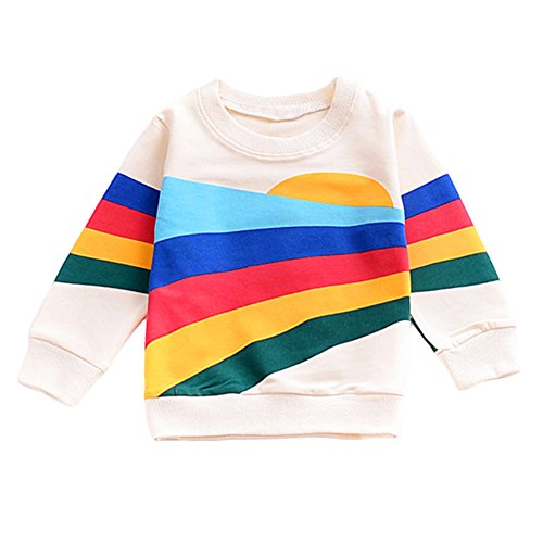 YOHA Baby Girls Autumn Soft Rainbow Top Blouse Long Sleeve Toddler Casual Tops Sunrise,100