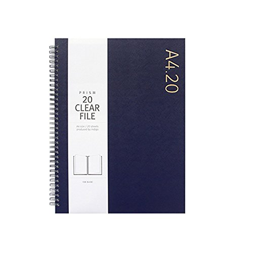 - 'A4.20' Clear File Folder Book 20 Pocket Protector Presentation Book A4 Size Wire Binding Available for Report Sheets, Artworks, Music Sheets, Clippings (Navy)