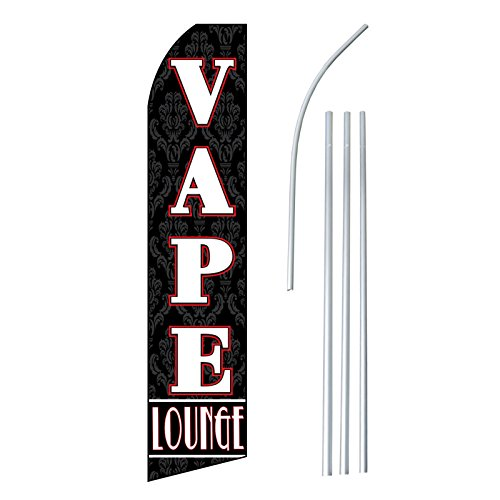 """NEOPlex – """"Vape Lounge (Extra Wide)"""" – Floppy Flappy Flutter Flag and Pole Set – Includes 12-foot NEOPlex Feather Flag with 15-foot Aluminum Pole (no mount) For Sale"""