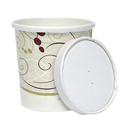 12 oz. Symphony Paper Soup and Frozen Dessert ice Cream Container with Vented Flat Lids- 40sets Dart