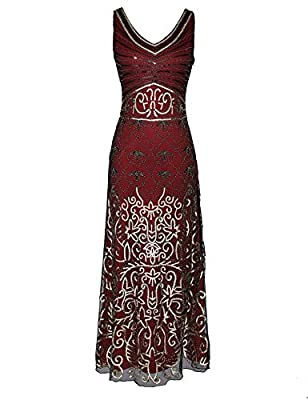 celeblink Women's Sequin Vintage 1920s Formal Dress Maxi Evening Prom Dresses Gowns