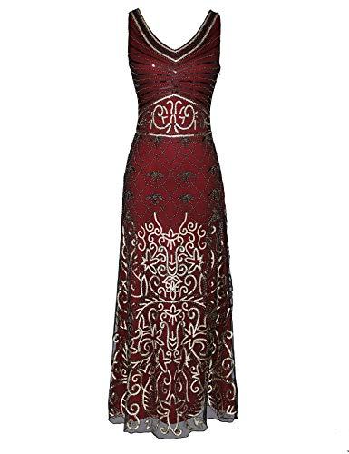 (1920s Long Maxi Prom Gowns Sequin Mermaid Bridesmaid Formal Evening Dress V Neck Back (Burgundy,)