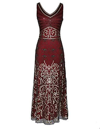 Celeblink Womens Sequin Vintage 1920s Formal Dress Maxi Evening