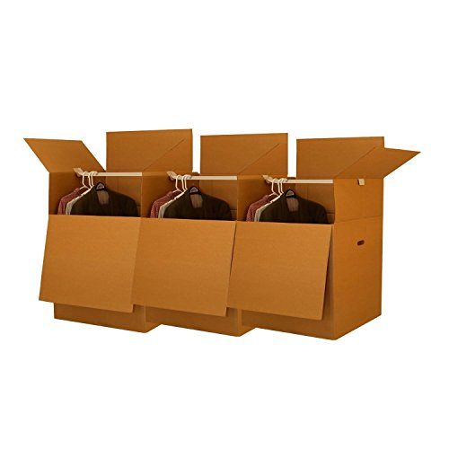 uBoxes Wardrobe Moving Boxes, 20 x 20 x 34 inch, 3 Pack, Tall Boxes, with Bars (Coat Moving Box)