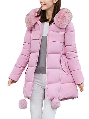 Abrigo Mujeres Capucha Pink Chaqueta Hipster Mujer Piel Termica Acolchado De Larga Manga Imitación Casuales Invierno Elegantes Espesar Outdoor Unicolor Parkas Con vRqUYC