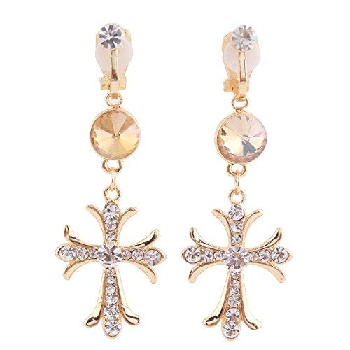 Bridal Rhinestone Gold Plated Cross Clip on Earrings Non Pierced Dangle Earrings No Pierced Earrings (White) - Cross Rhinestone Earrings