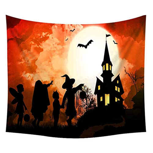 Pink Floyd Halloween Pumpkin (Salaks Halloween Theme Night Pumpkin and Haunted House Ghost Town Wall Hanging Tapestry,Fantasy Art House Decor Tapestry for Bedroom Living Room Dorm,)