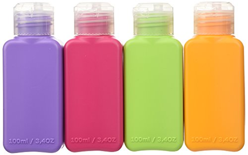 Price comparison product image Set of 12 Travel Size Bottles Assorted Colors Airplane Trip Gym Bag Shampoo Conditioner Skin Lotion Hair Products Skin Products Beauty Products 3.4oz Each (Set of 12)