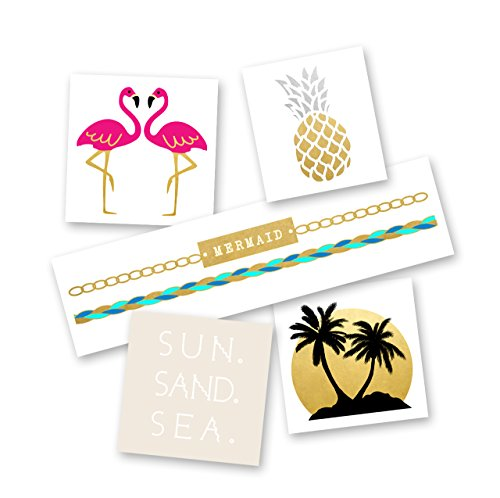 SUMMER LOVIN' VARIETY SET Flash Tattoos set of 25 assorted beachy inspired premium waterproof metallic gold & silver jewelry temporary foil party tattoos, tropical tattoo, Party Supplies
