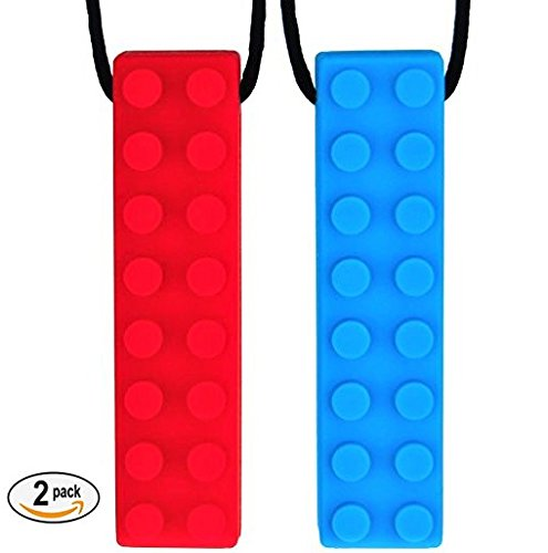 Functional Necessities Sensory Brick Chew Necklace Set (2-Pack) Silicone Chewelery for Autism, ADHD, Teething, Oral Motor, Biting - MEDIUM FIRMNESS - Self Soothing Chew Toy For Kids