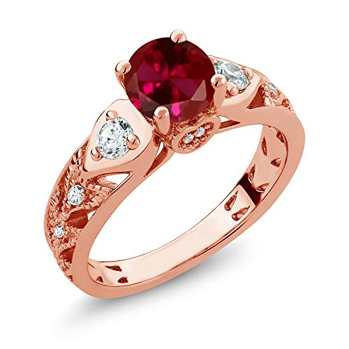 Gem Stone King 2.26 Ct Round Red Created Ruby 18K Rose Gold Plated Silver Engagement Ring (Size 9)