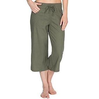 d47c3fd45cef8 CAUSEWAY BAY Ladies Womens Linen Casual Crop 3 4 Trousers with Pockets Size  10-18 (Khakhi