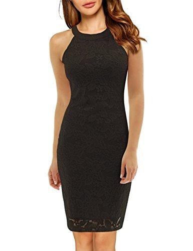 SunnyLady Women's Sleeveless Halter Lace Bodycon Dress Black L