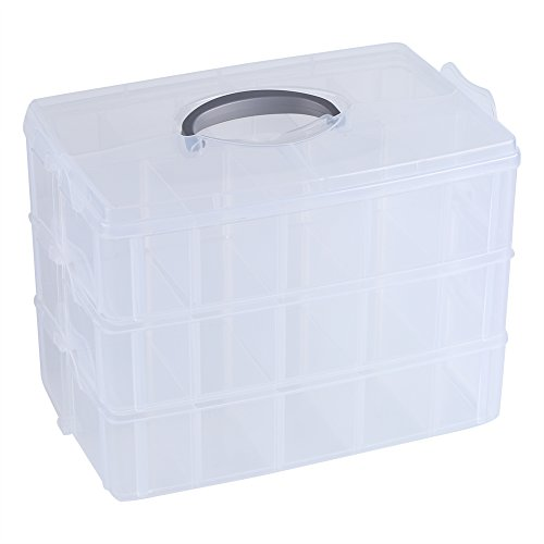 Clear Plastic Storage Box Three - Layer 30 Grids Removable Dividers Storage Box Container Craft Organizer Case - Long Dividers Storage Grid Container