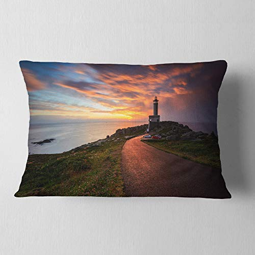 Designart CU9453-12-20 Punta Nariga Lighthouse Spain Throw Pillow, 12'' x 20'' by Designart