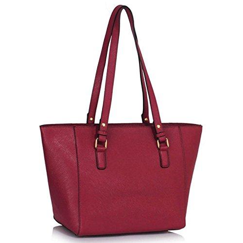 "Xardi London 12"" Large Shoulder Bags Women Faux Leather Grab Handbag Work College Ladies Tote Burgundy"
