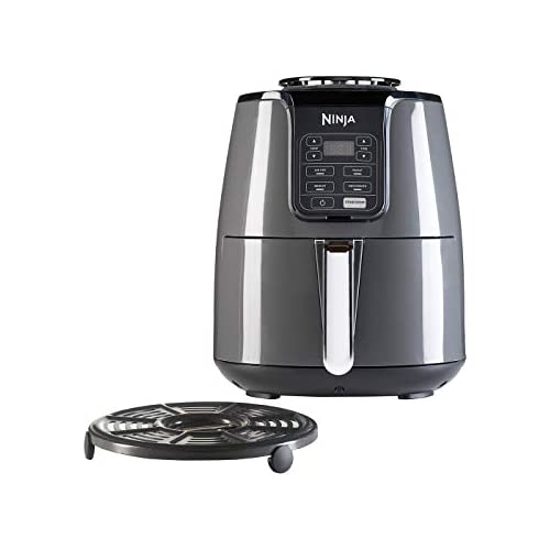 chollos oferta descuentos barato Ninja Air Fryer Freidora sin Aceite AF100EU 4 funciones de cocción Asar Recalentar Deshidratar y Freidora de Aire Antiadherente 3 8 Litros 1500 W Gris Negro