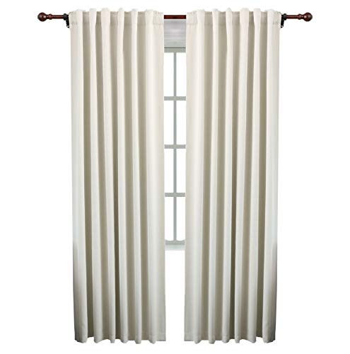 KEQIAOSUOCAI Blackout Curtain Panels Back Tab and Rod Pocket Thermal Insulated Drapes Room Darkening Window Draperies 2 Panels 52x84 Inches Beige (Back Tab Curtain)