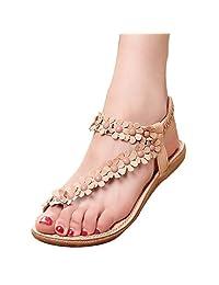 YOUJIA Womens Thongs Sandals Beach Casual Toe Loop Sandal Sweet Rhinestone Footwear