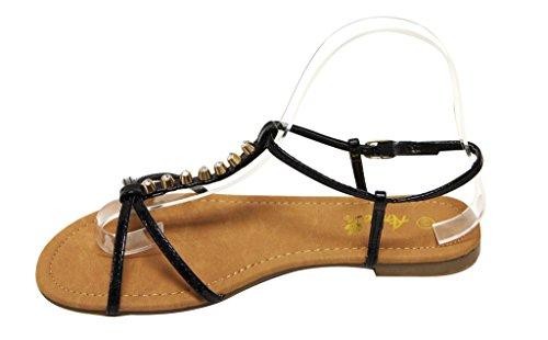 Anna Vita-2 Dames Open Teen Strepen T-strap Gouden Stud Rhinestone Decor Slingback Enkelband Patent Sandalen Zwart