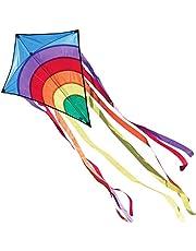 CIM Vlieger voor kinderen - Rainbow Eddy Blue - Dimense: 65cm x 72cm - Eenlijner - inclusief Vliegersnoer - vliegerkoord - voor kinderen vanaf 3 jaar