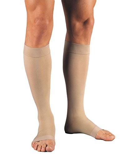 15mm Compression Sock (Jobst Relief Knee High Moderate Compression 15-20, Open Toe Silky Beige, Medium)