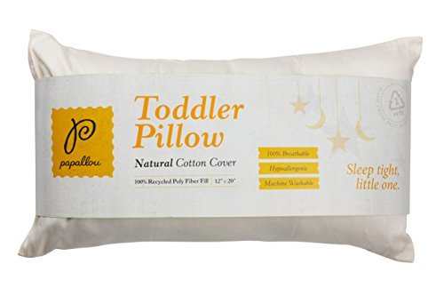Papallou Recycled Polyfill Toddler Pillow with Natural Cotton Pillowcase, Size 12x20x2, For Ages 2+ (Disney Cars Comforter Toddler Bed)
