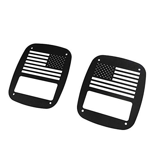 Hooke Road Jeep Wrangler Tail Lamp Covers Rear Light Guards US American Flag for Jeep Wrangler TJ 1997-2006