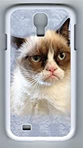 Children's Grumpy Cat in Blue Custom Samsung Galaxy I9500/Samsung Galaxy S4 Case Cover Polycarbonate White